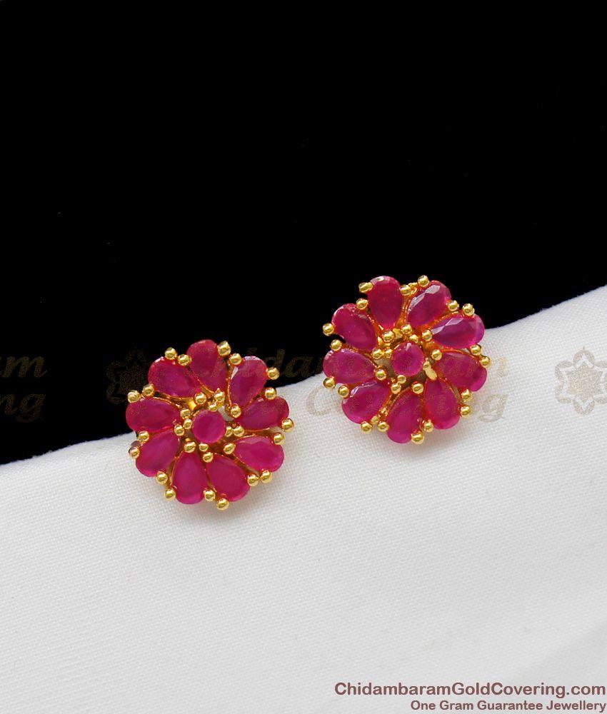 Super Precious Ruby Stone Gold Studs Flower Design Online Jewelry Store ER1307