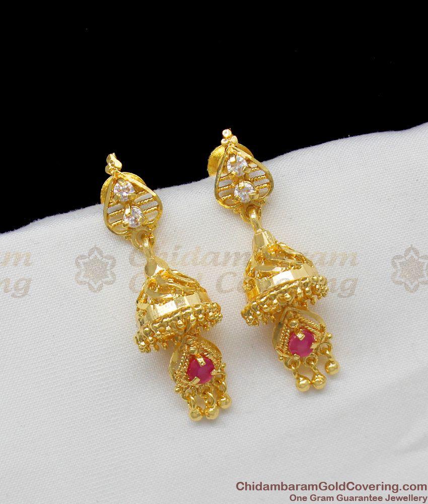 Rendu Adukku Gold Plated Jhumki With AD Ruby Stones trendy Design ER1317