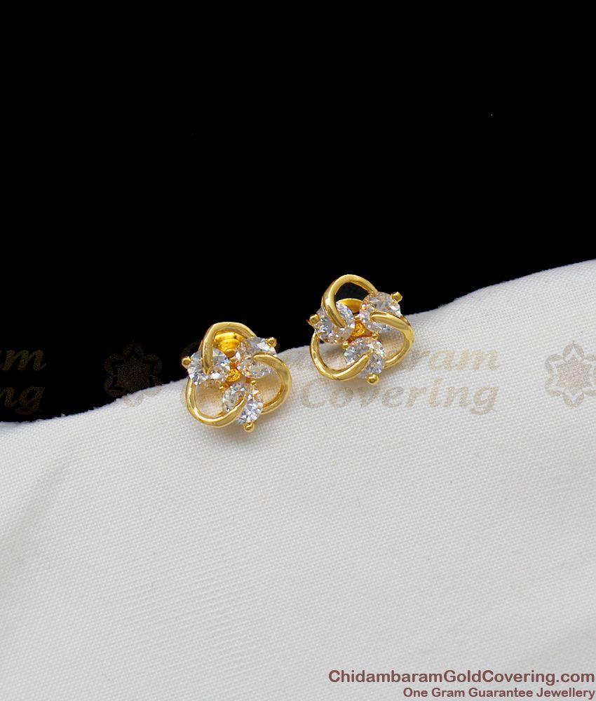 Fancy White AD Stone Sparkling Flower Model Gold Studs For Regular Wear ER1324