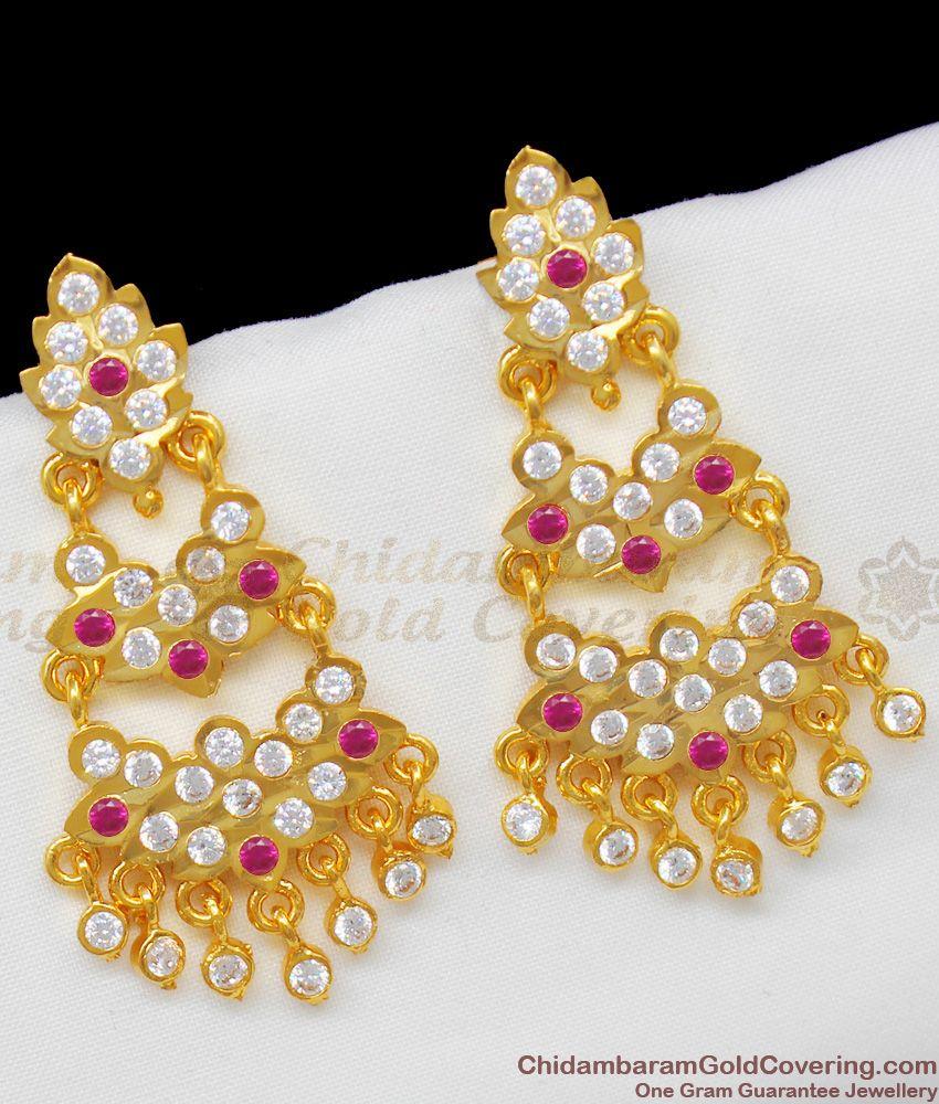 Moonu Aduku Long Impon Multi Color Stone Dangler Jewelry For Ethnic Wear ER1334