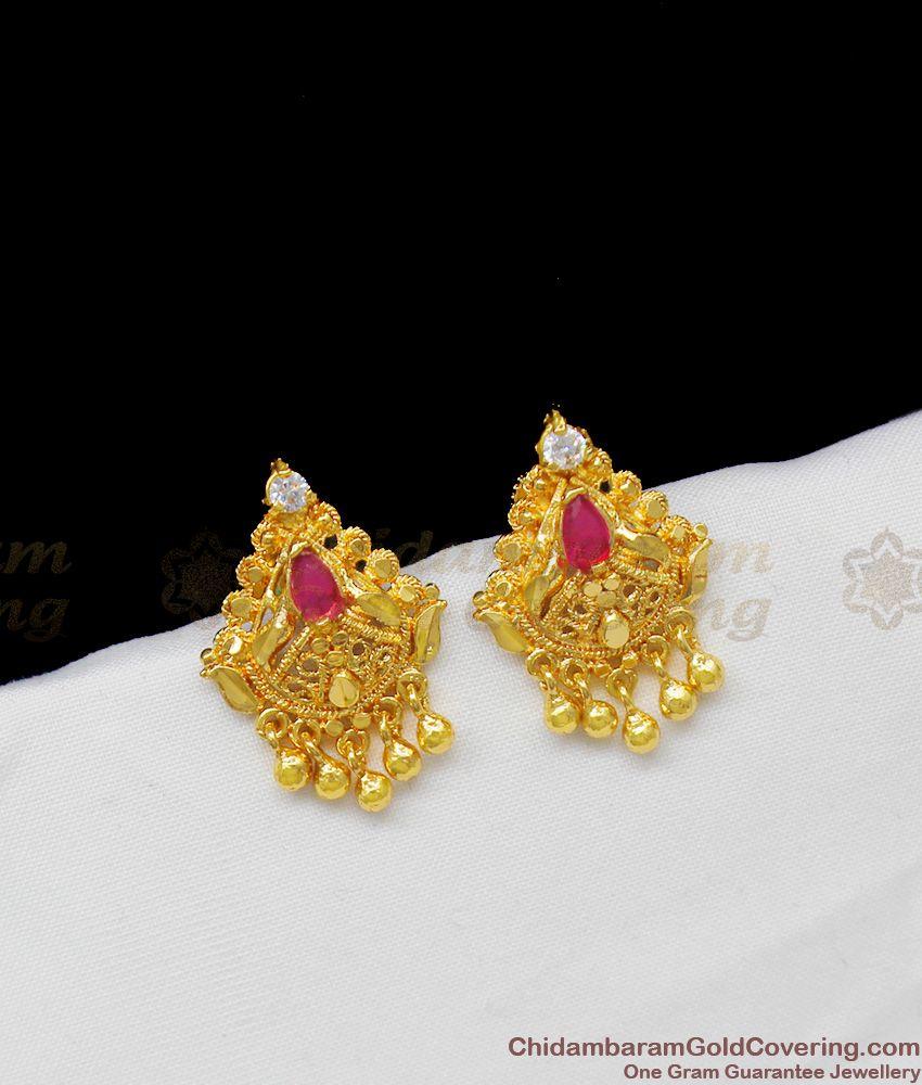 AD Ruby Stone One Gram Gold Earrings With Cute Beads Kerala Model Jewellery ER1359