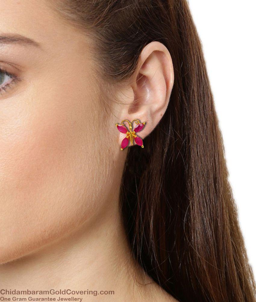 Small Ruby Stone Fancy Butterfly Design Gold Studs Type Earrings For Teen Girls ER1381