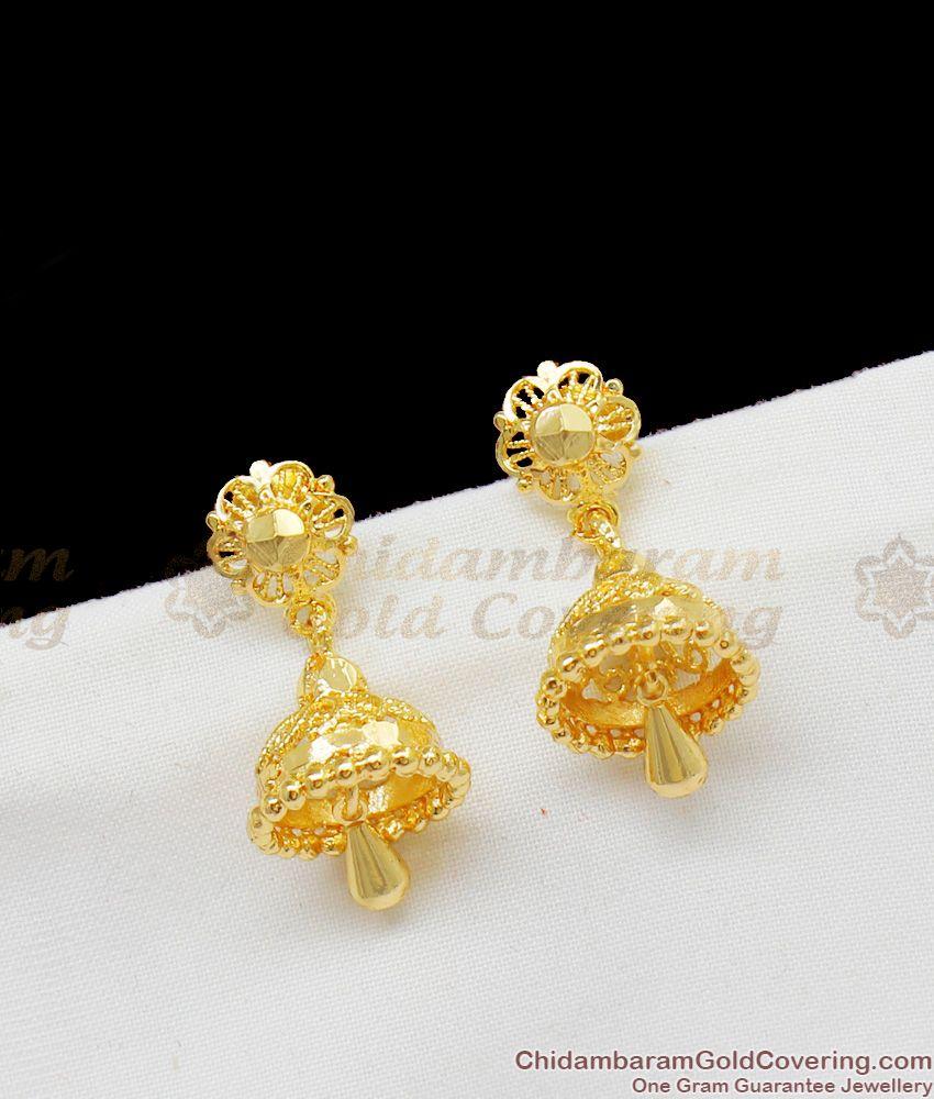 Solid Gold Design Medium Jhumki Earrings Bell Model Latest Collection ER1408