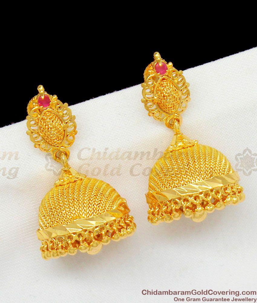 Gold Net Pattern Pretty Jhumki Earrings With Single Ruby Stone Model ER1447