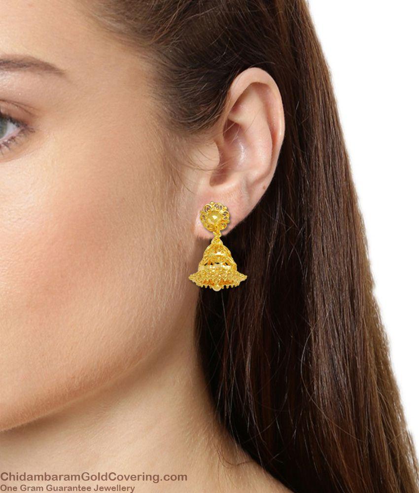 Sunflower Stud Design Gold Plated Trendy Jhumki Kammal Earrings ER1453