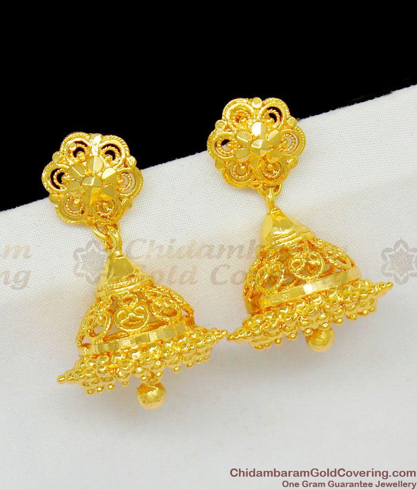 Beautiful Pure Gold Thodu Flower Design Jhumki Earrings Buy Online ER1455
