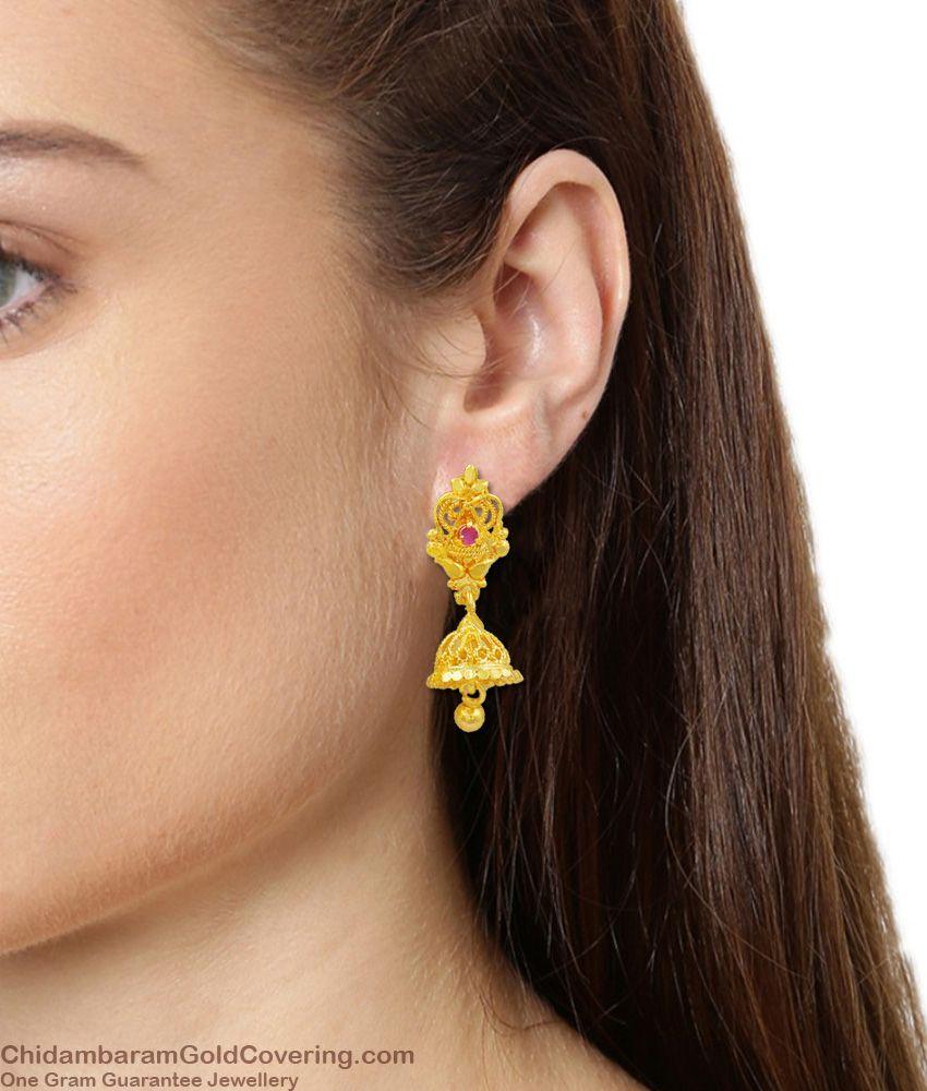 Ruby Stone Nice Looking Jhumki Gold Earring For Women Wear ER1509