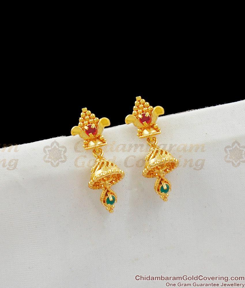 Beautiful One Gram Gold Ruby Jhumki Earrings Jewelry For Regular Home Wear ER1537