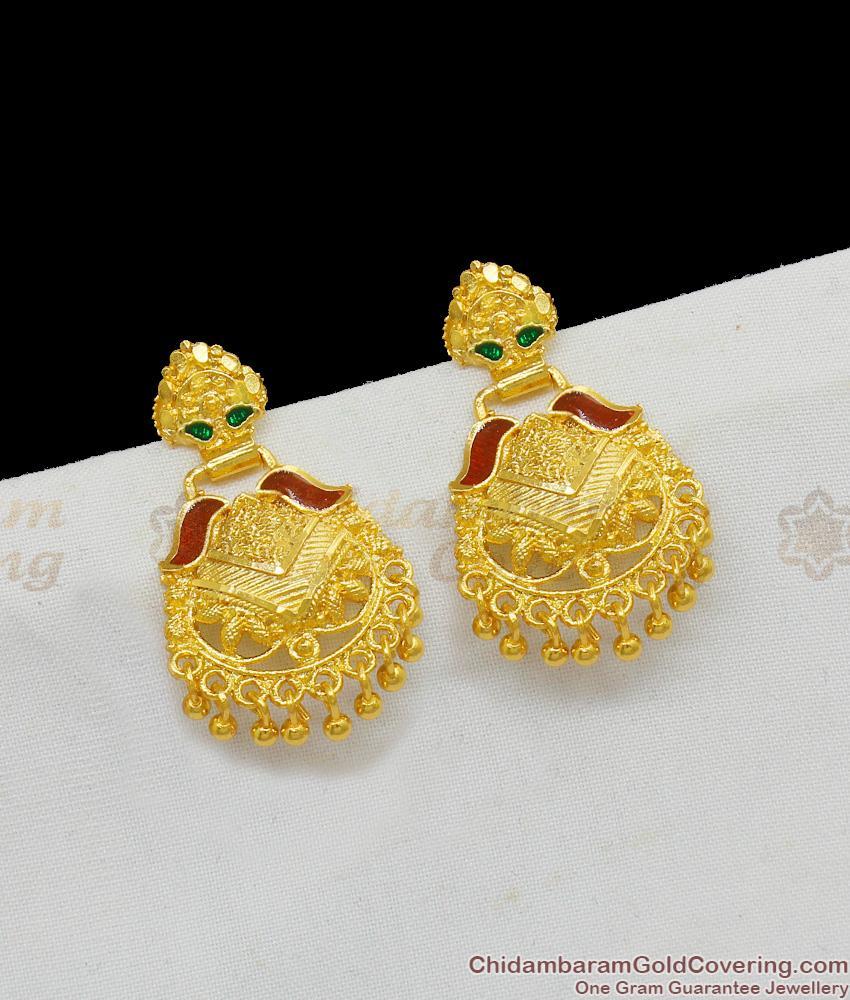 Handmade Real Gold Enamel Earrings Daily Use Dangler Collection ER1557