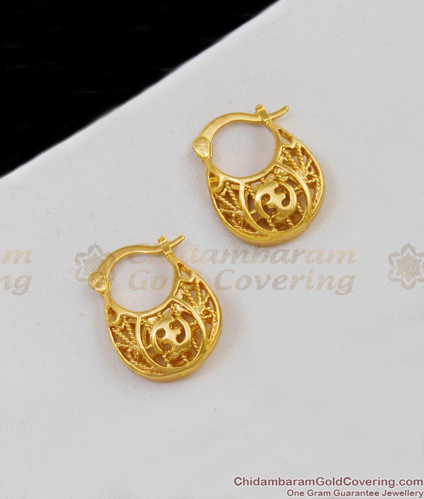 Hand Crafated Plain Flower Model Aspiring Gold Studs Hoop Pattern For Girls ER1606