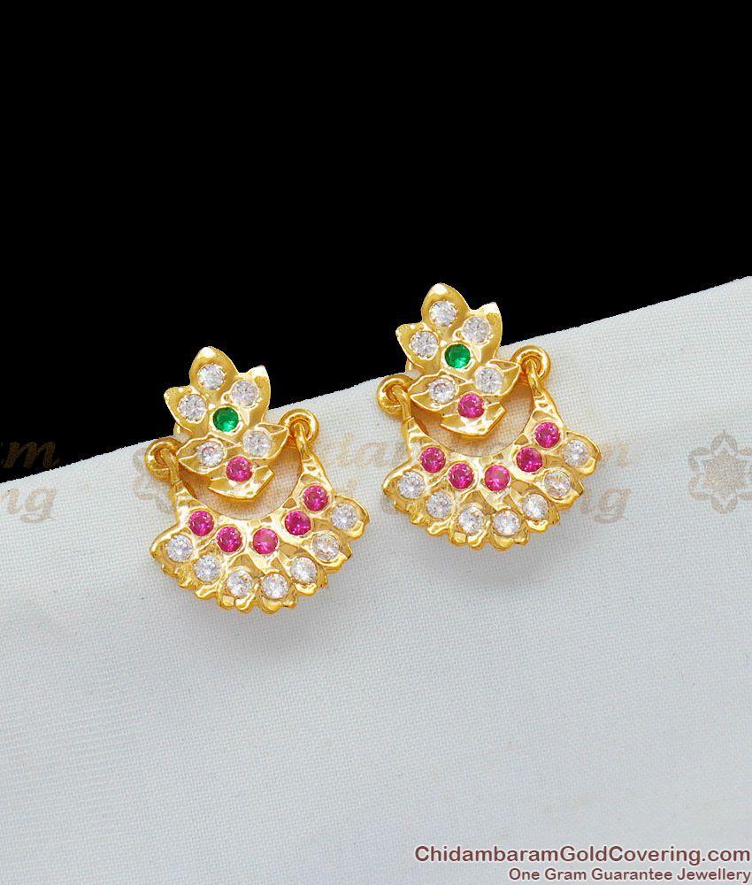 Sparkling Real Gold Dangler Design Multi Color Stone Five Metal Earrings ER1611