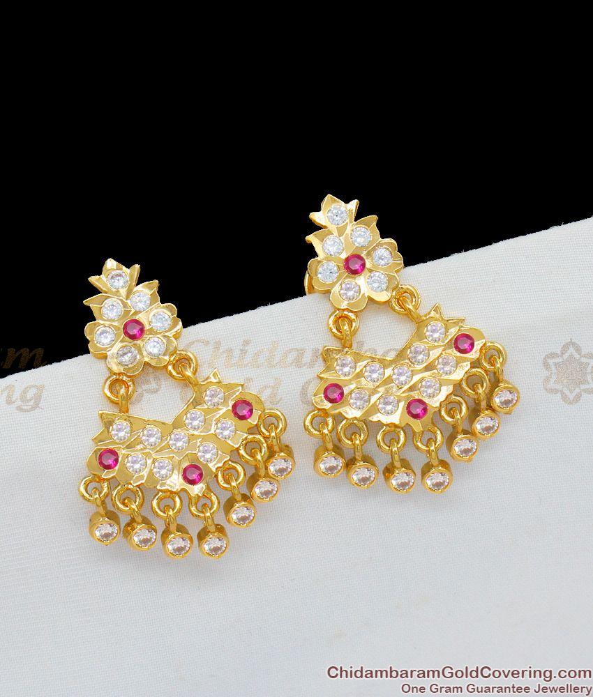 New Arrival Trendy Impon Multi Stone Gold Dangler For Ladies ER1163