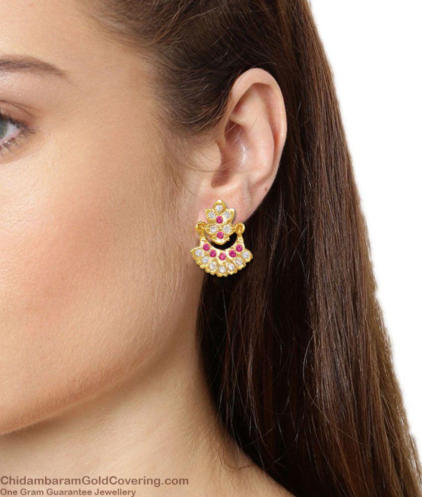Sparkling Real Gold Dangler Design Multi Color Stone Five Metal Earrings ER1648