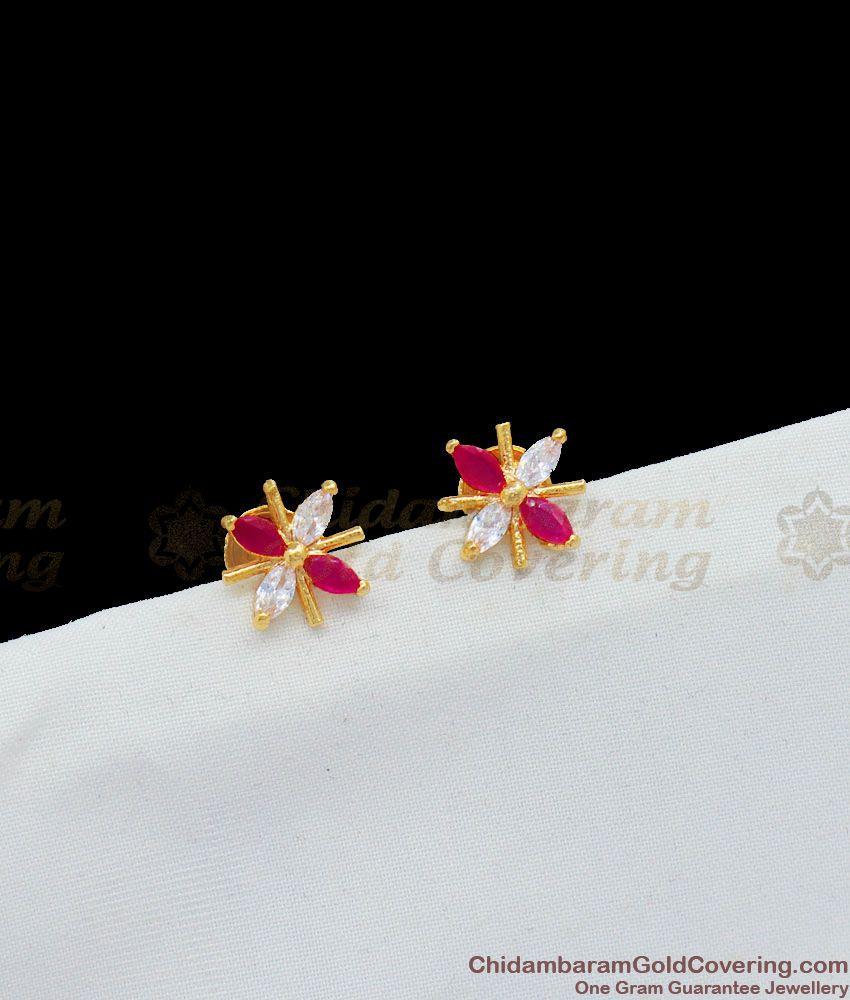 Multicolor Stones Small Star Design Gold Tone Studs New Arrival Jewelry ER1653