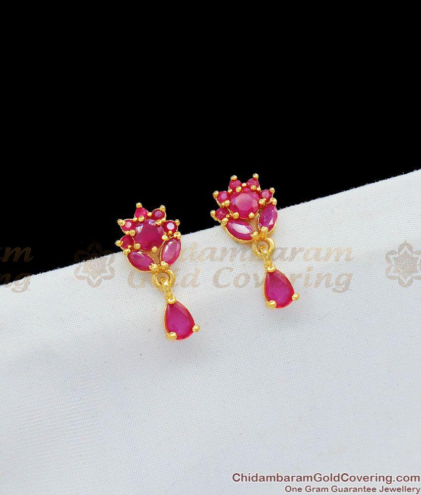 Ruby Stone Flower Design Trendy Studs Collection For Teen Girls Online ER1659