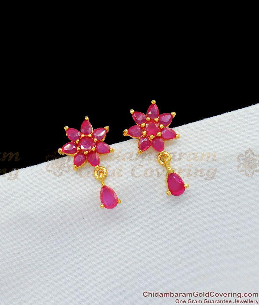 Ruby Stone Flower Design Trendy Studs Collection For Teen Girls Online ER1660