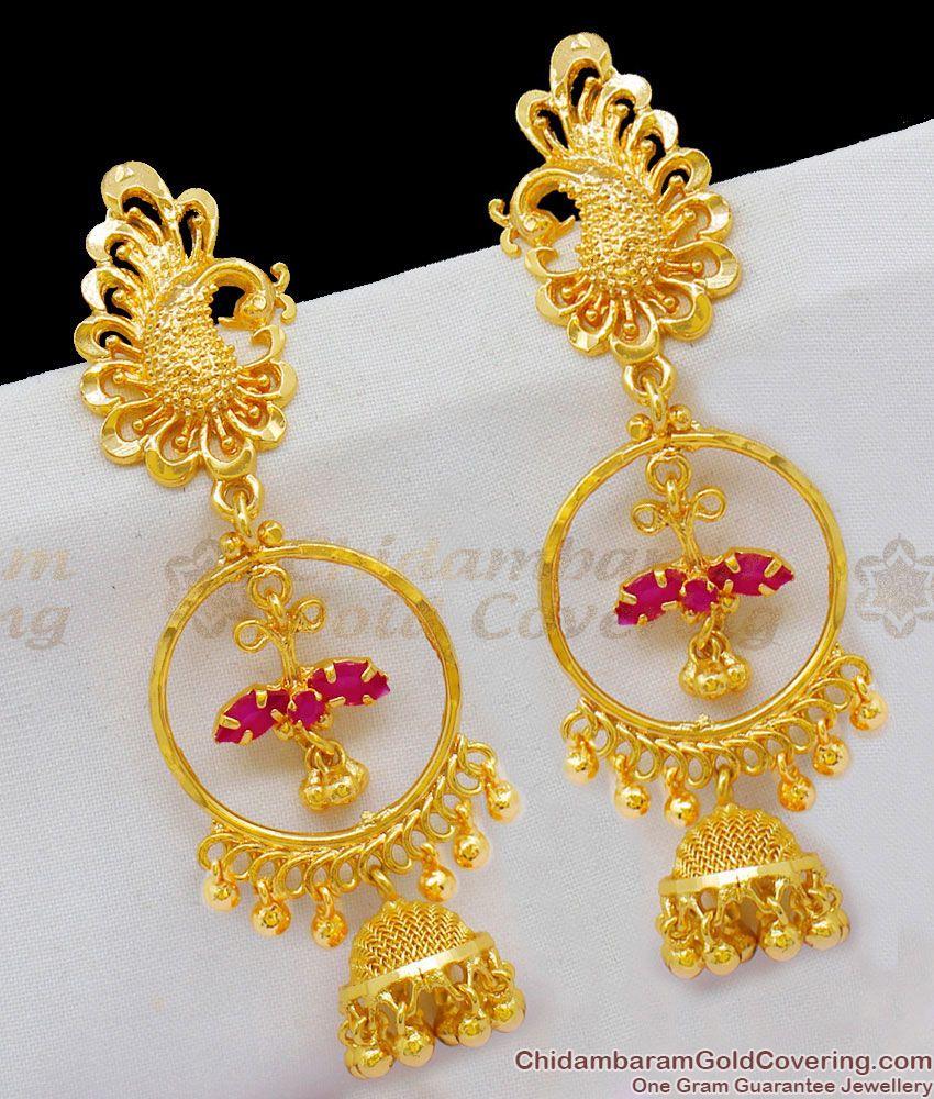 Big Peacock Pattern Earrings Design Ruby Stone Dangler Collections ER1669