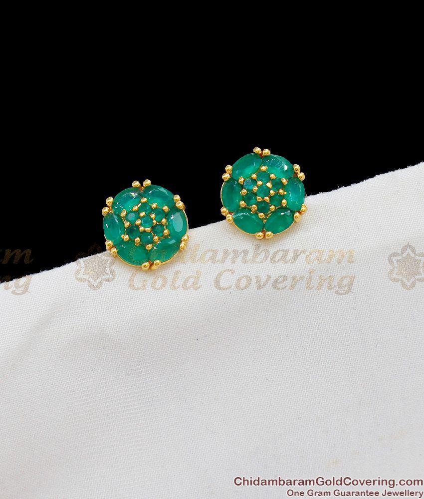 Attractive Full Emerald Stone Studs For Regular Use Shop Online ER1683