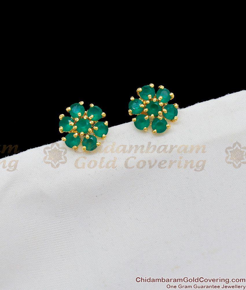 Attractive Full Emerald Stone Studs For Regular Use Shop Online ER1686