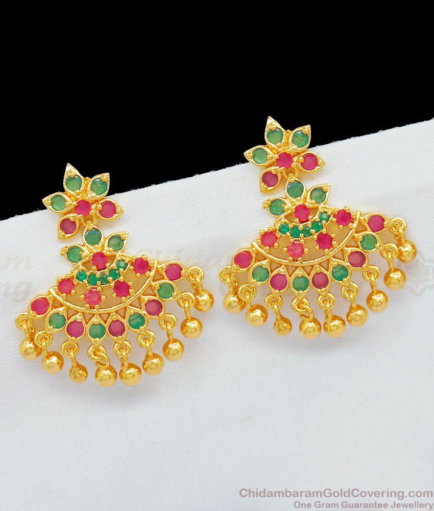 Luxury Model High Look Gold Imitation Dangler With Multi Color Stones ER1761