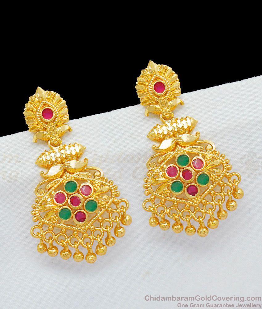 Kerala Model One Gram Gold Danglers Multi Color Stones Earrings For Girls ER1768