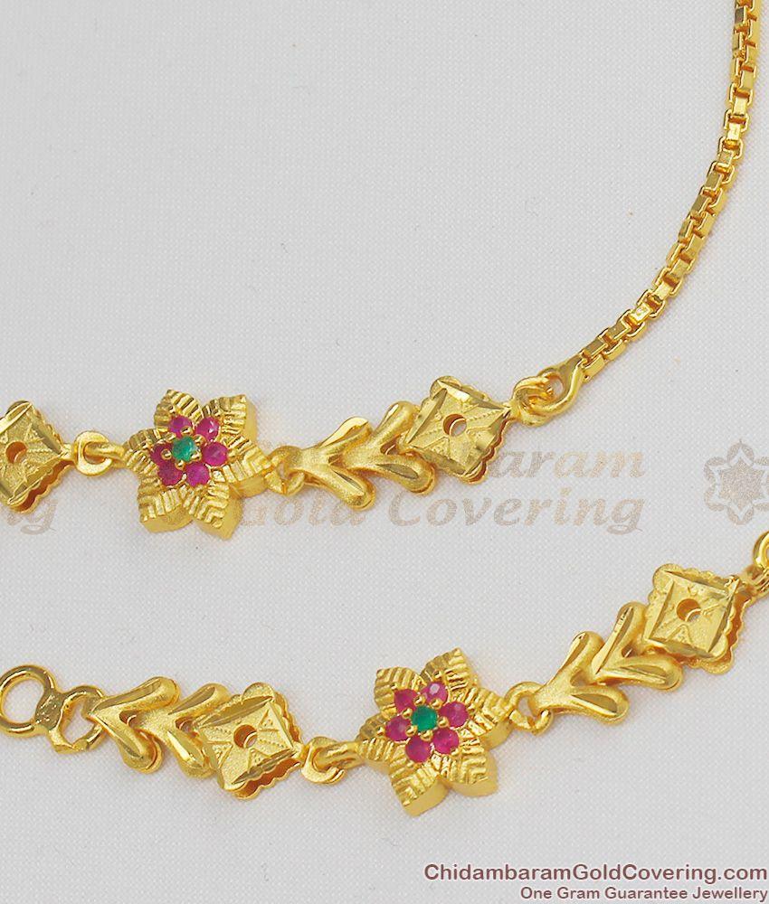 Trendy Flower Design Forming Gold Maatal Hair Chain Bridal Collection Online MATT24