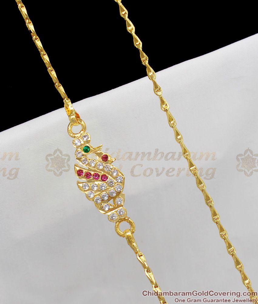 Semi Precious Impon Gold Peacock Dollar Mugappu Thali Kodi For Married Womens MCH215