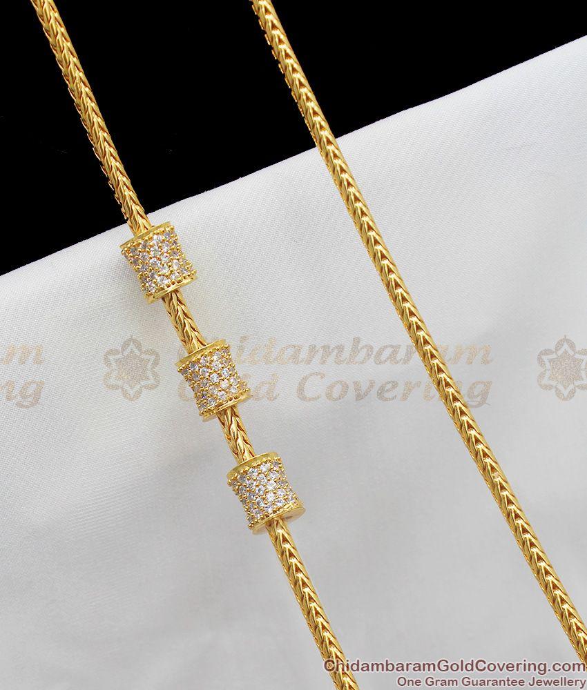 Trendy CZ Zircon White Stone Cylindrical Mugappu Side Pendant At Best offer MCH220