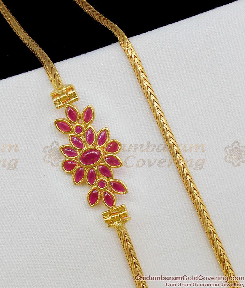 Marvelous Ruby Kemp Stone Flower Side Pendant Gold Chain MCH345