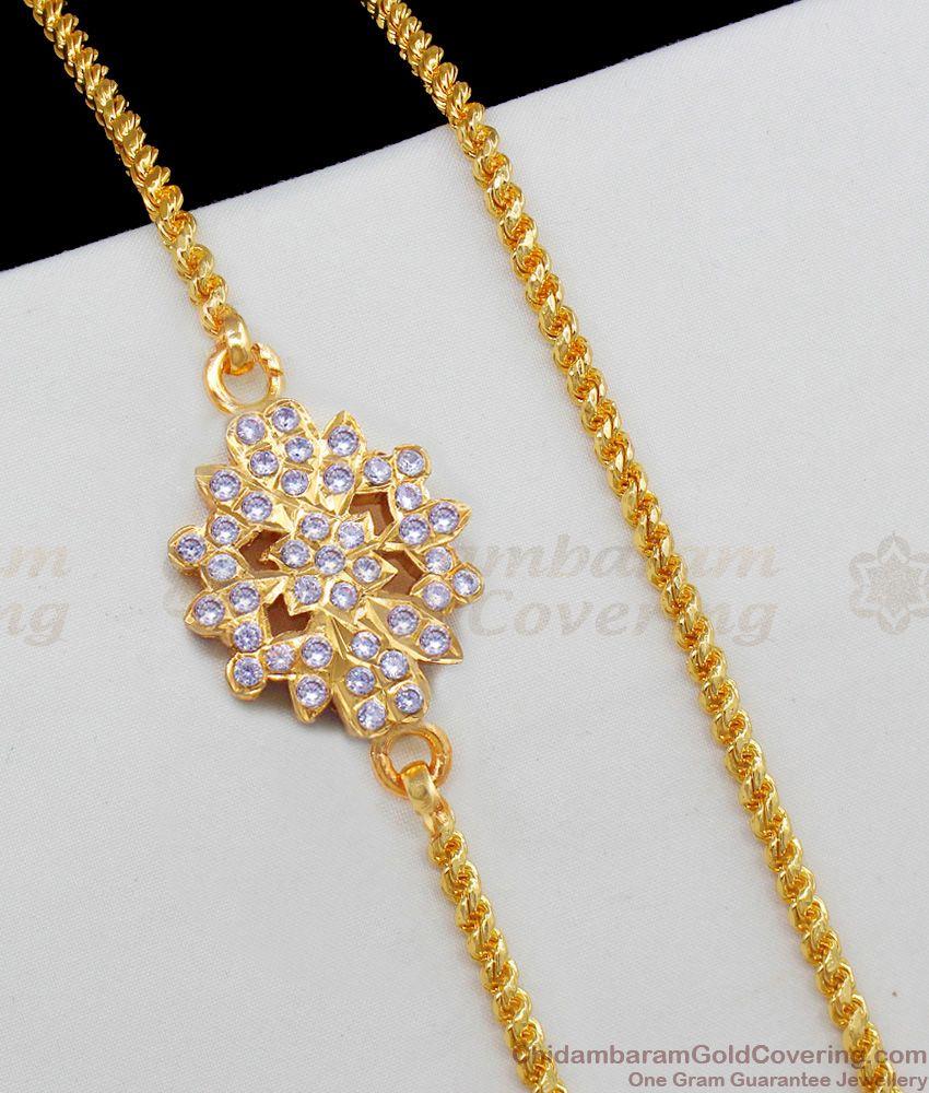 Fantasy Gold Impon Star Flower Model Full White Stone Mugappu Thali Chain MCH587