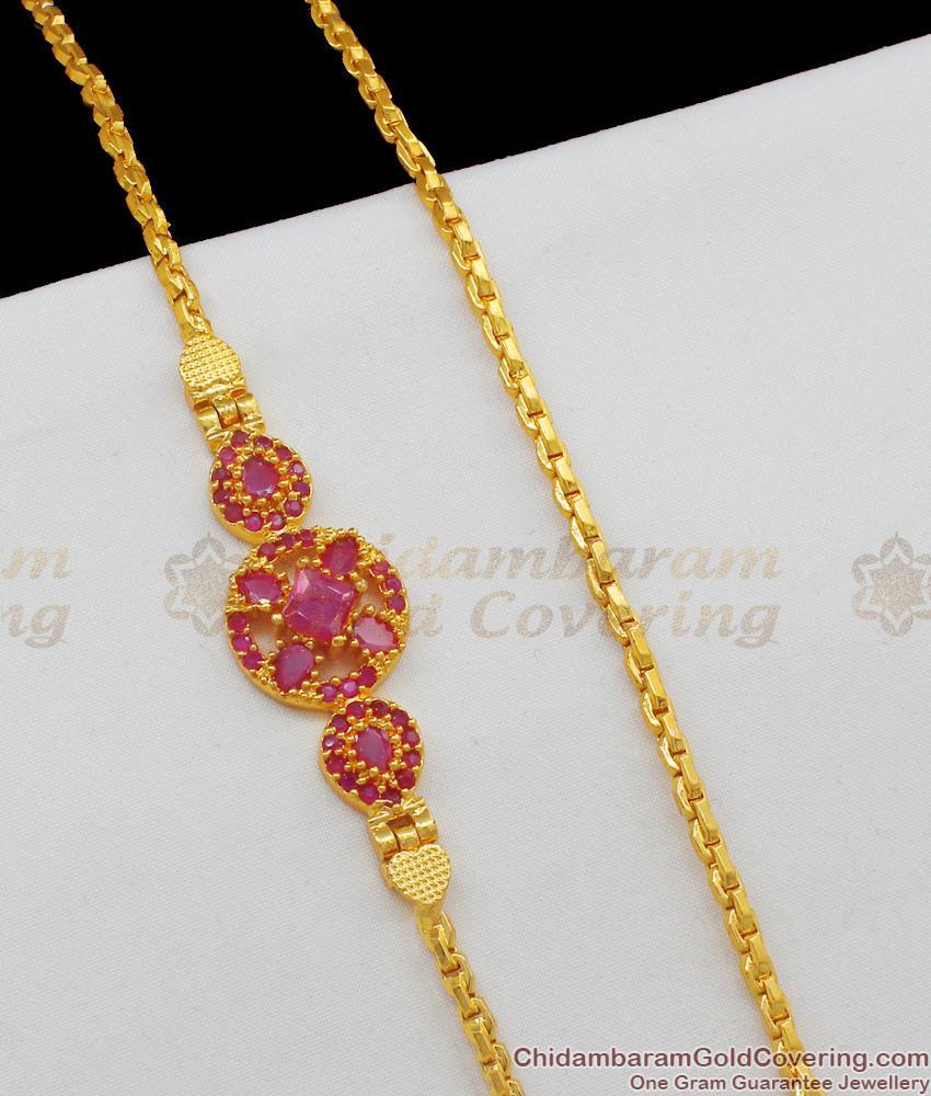Big Flower Designed Ruby Stone Traditional Side Pendant Mopu Thali Chain MCH441