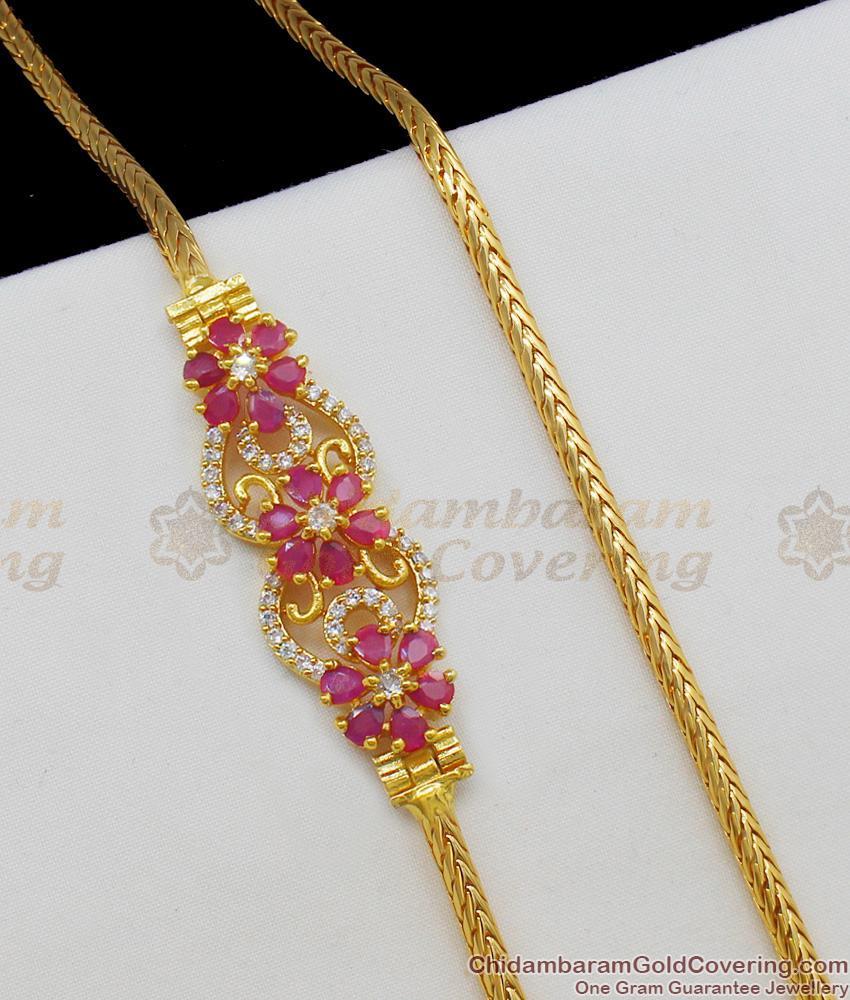 New Arrival Mugappu Design One Gram Gold Stone Pendant Chain For Womens MCH473