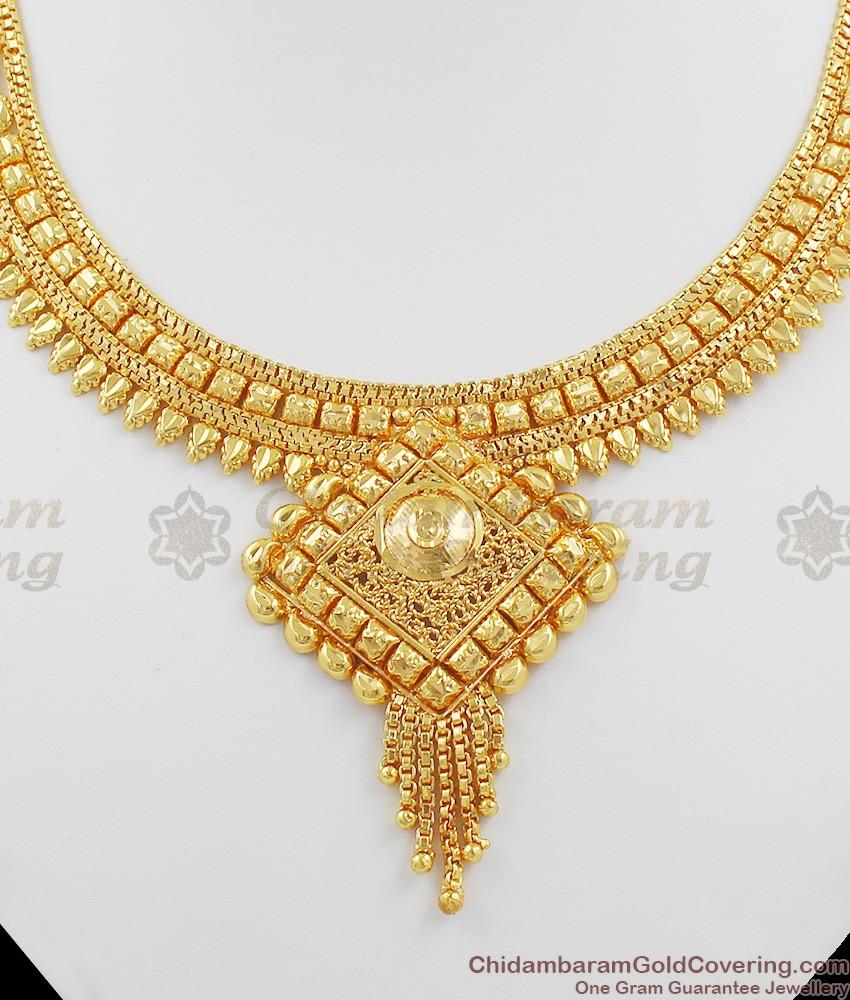 Gold Tone Traditional Calcutta Choker Necklace Designs NCKN1004