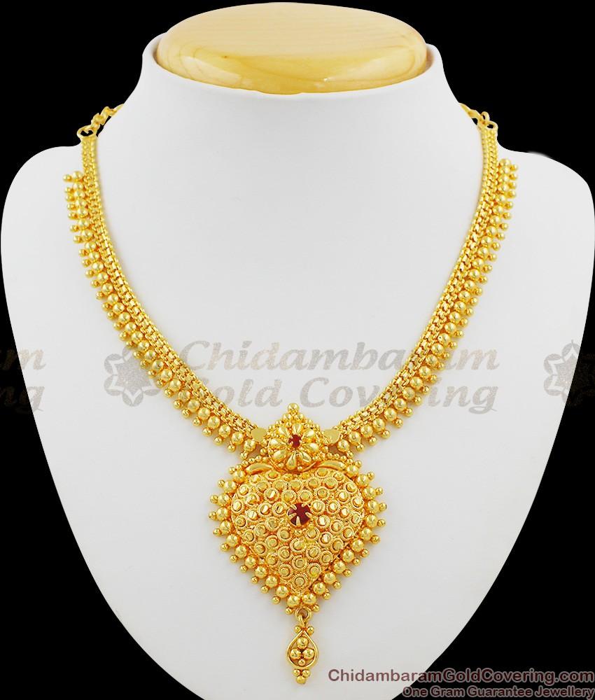 Heavy Gold Pattern Grand Single Ruby Stone Necklace NCKN1008