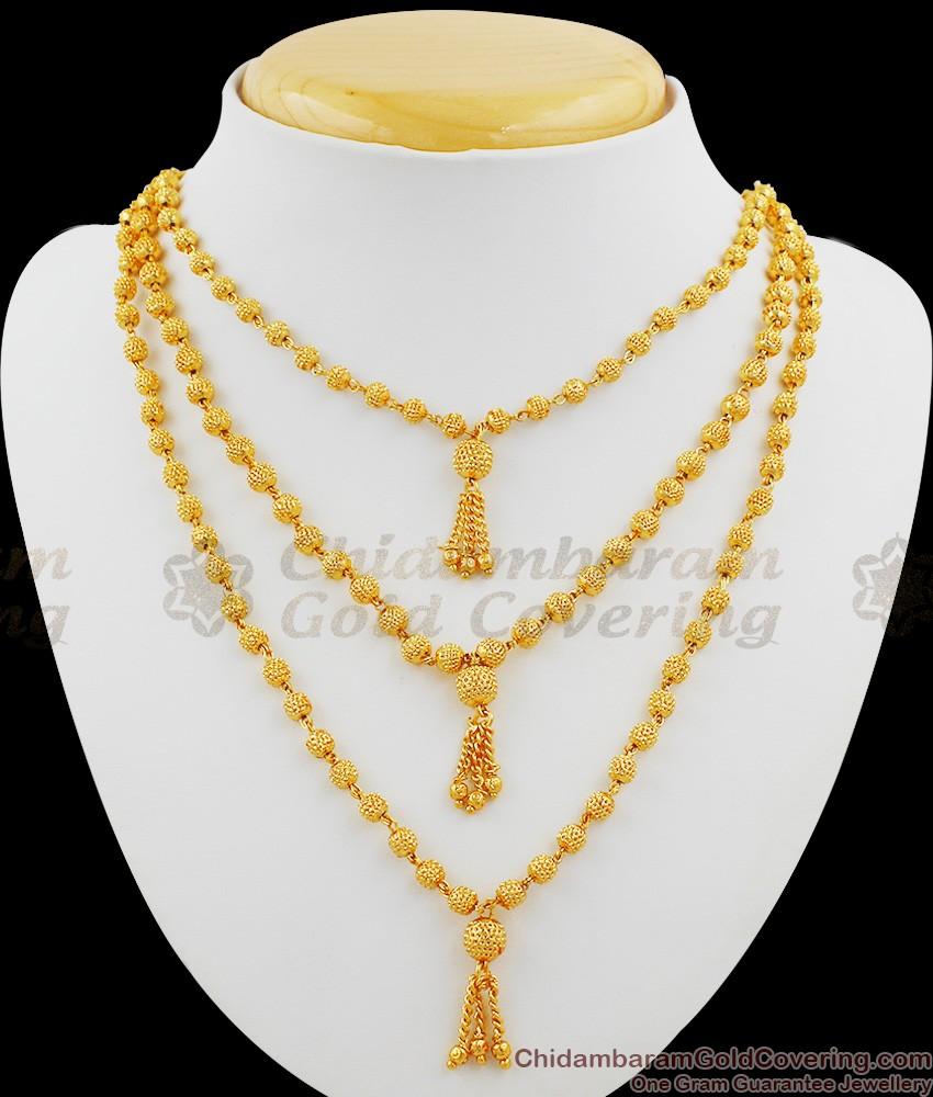 Three Line Gold Beads Ball Design Chain Necklace Online NCKN1013