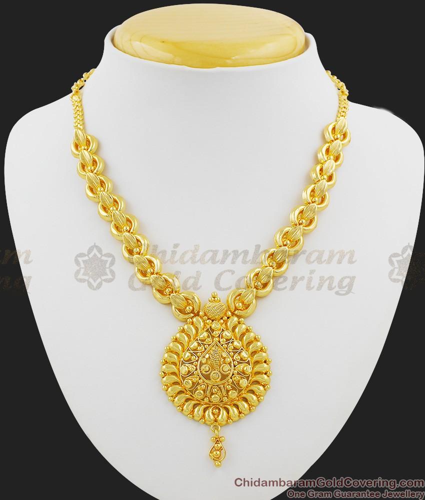 Grand Lotus Leaf Bridal Necklace Design Gold Imitation Jewelry NCKN1016