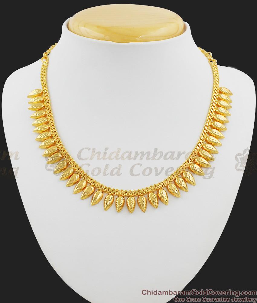 Light Weight Traditional Kerala Mullai Leaf Necklace Design NCKN1017
