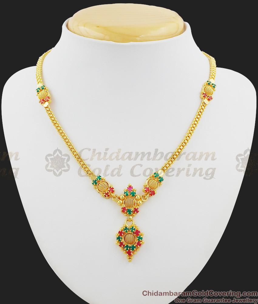 Simple Light Weight Stone Dollar Imitation Necklace NCKN1021
