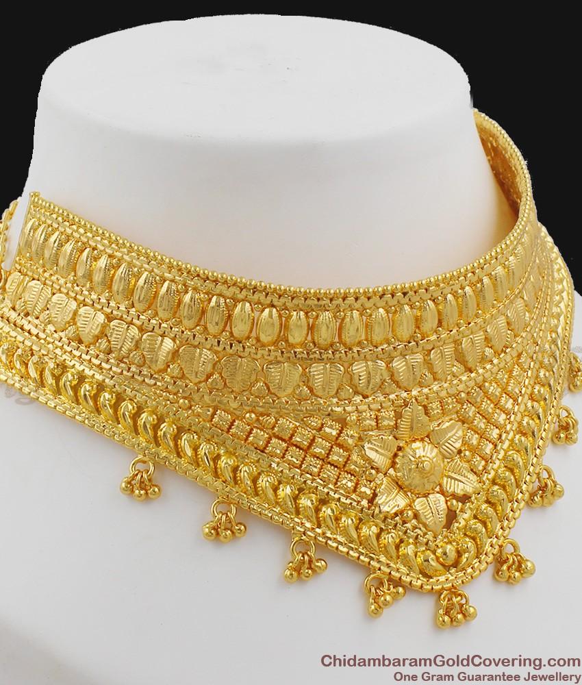 Handmade Bridal Choker Necklace Gold Design for Marriage NCKN1023