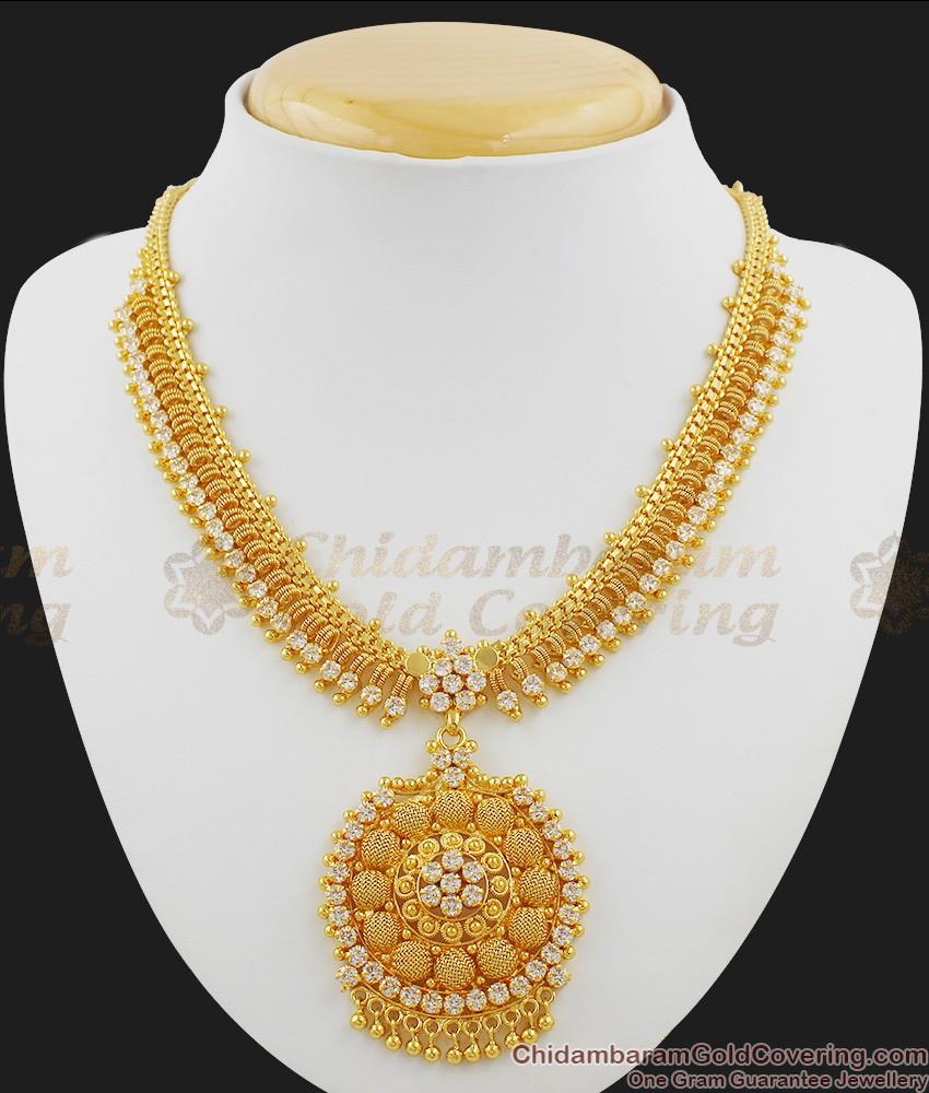 Sparkling Full White stone Bridal Design Necklace NCKN1030