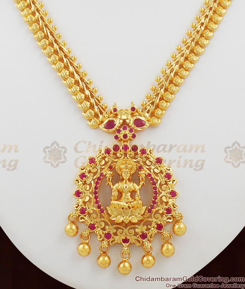 Unique Ruby Stone Gold Drops Lakshmi Dollar Necklace Design Jewellery NCKN1050