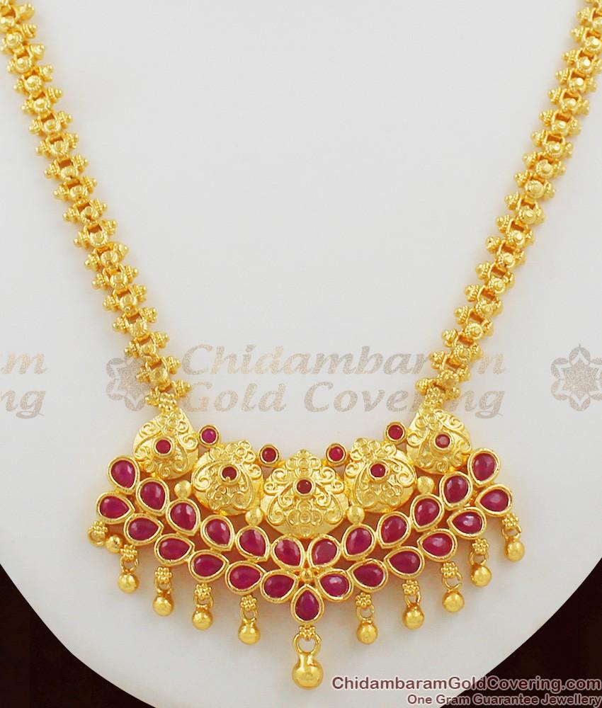 Full Ruby Crystal Stones Bridal Wear Necklace Chain For Wedding NCKN1055
