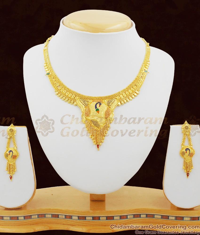 Fancy Peacock Model Two Gram Enamel Forming Necklace Set NCKN1059
