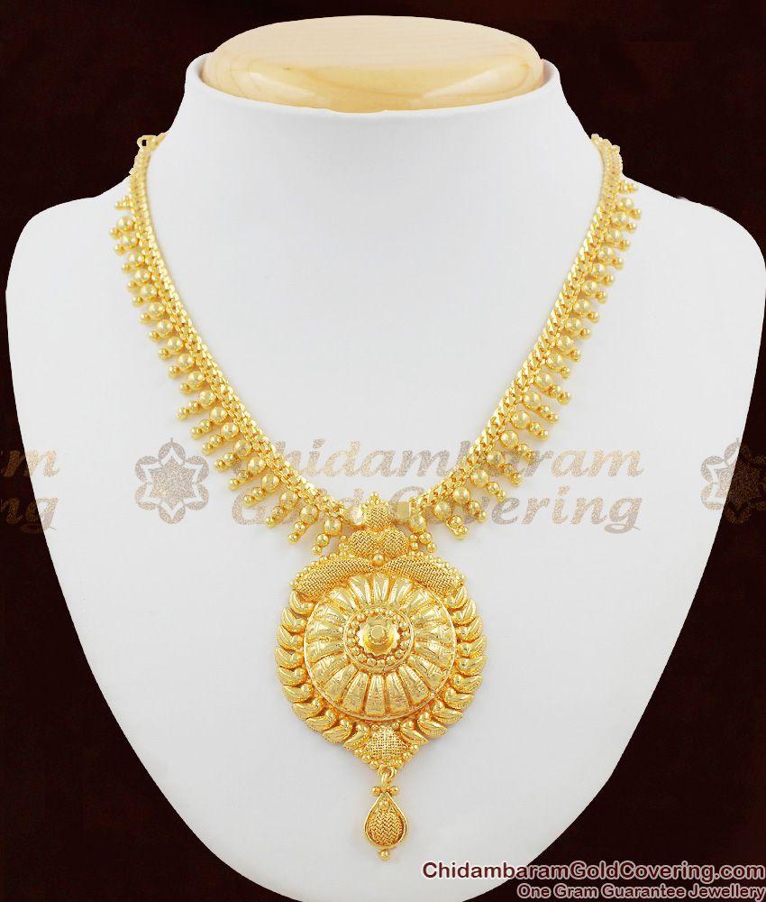 Big Dollar Gold Aspiring Kerala Design Mullai Arumbu Short Necklace Chain NCKN1068