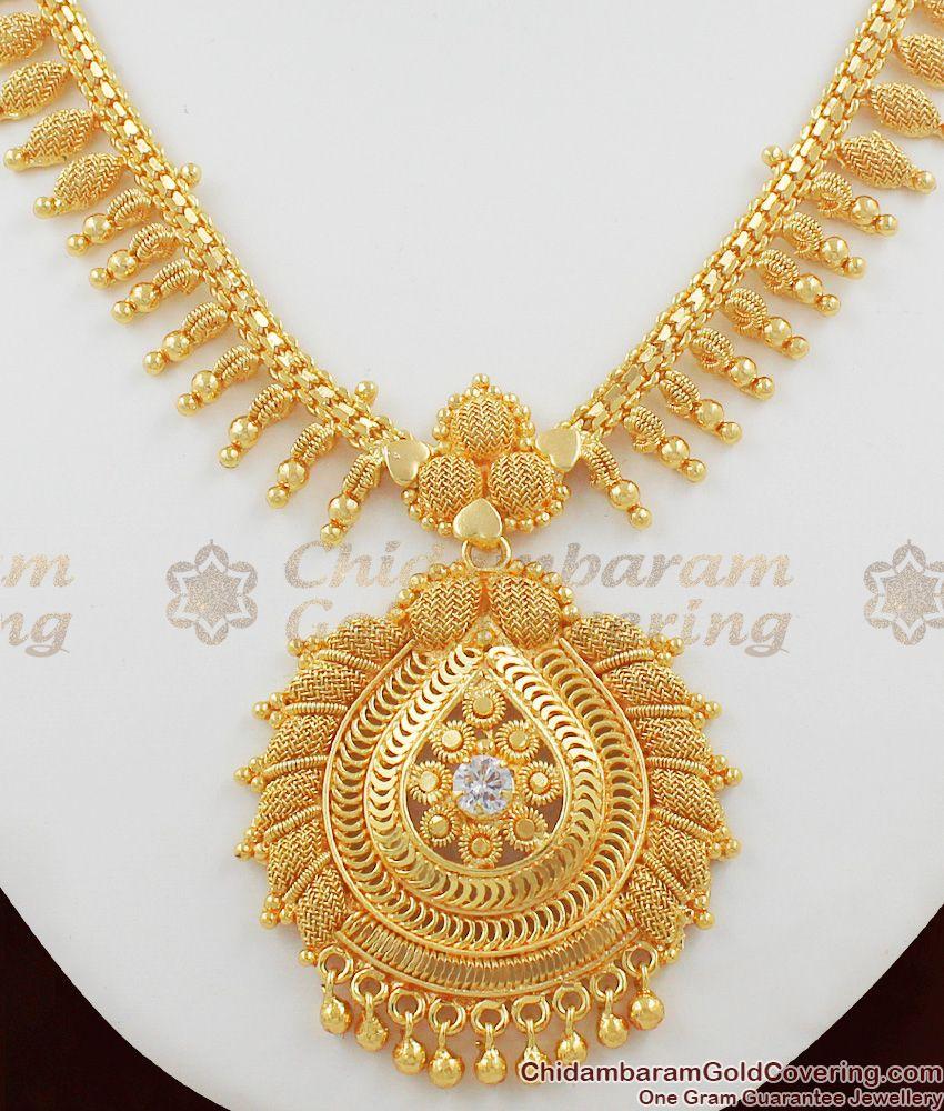South Indian White Crystal Stone Mullai Arumbu Handmade Necklace Buy Online NCKN1071
