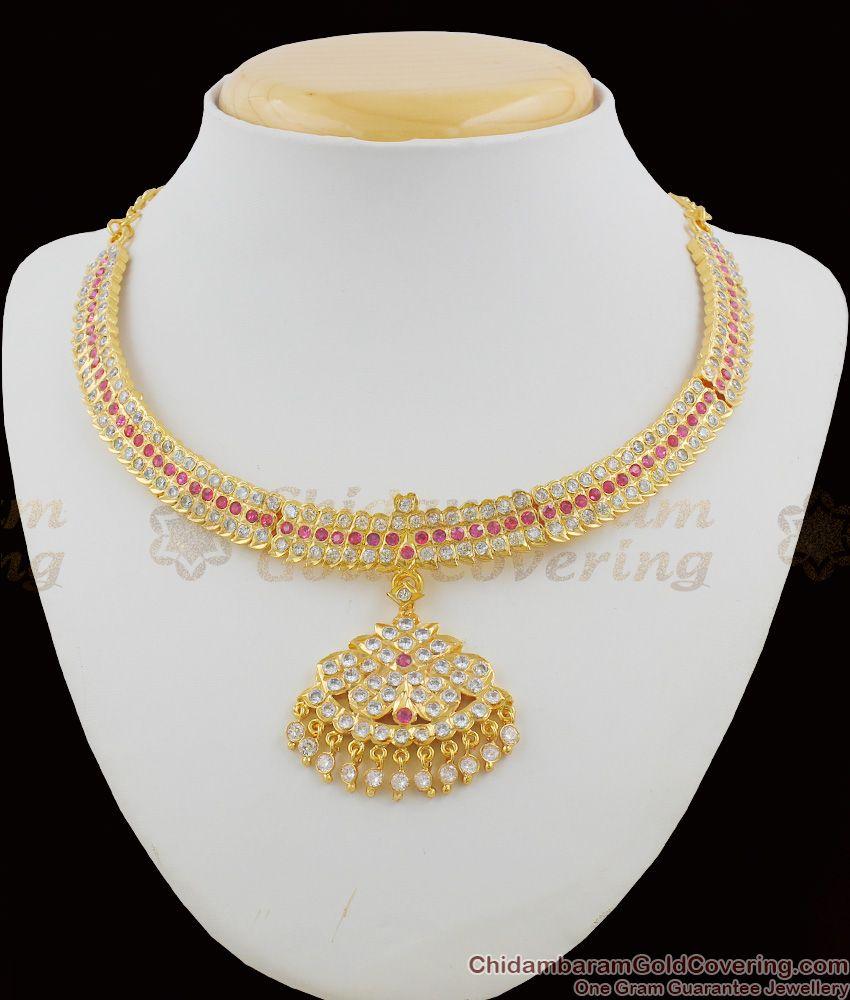 Supreme Impon Attigai AD Ruby Stone Necklace Grand Look Choker Model NCKN1109