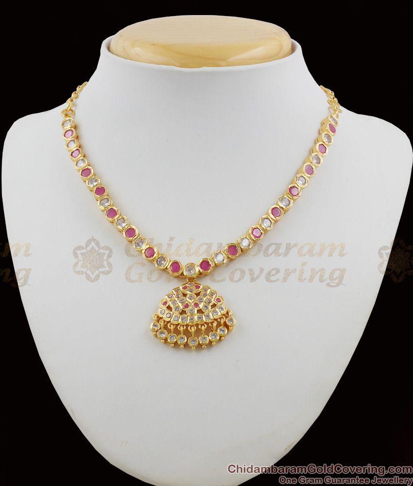 Five Metal Pink And White Stone Gold Impon Attigai Necklace Dollar Design NCKN1110