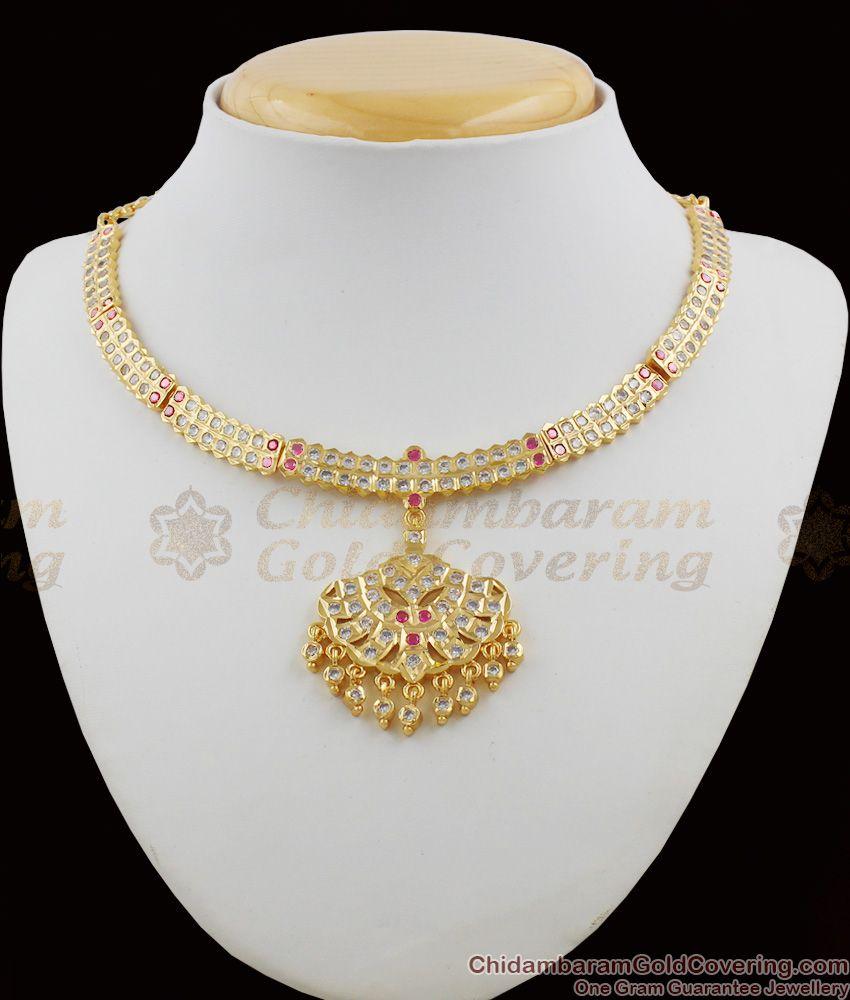Gati Metal Gold Impon Attigai Bridal Collection Multi Color Stone Necklace Dollar NCKN1112