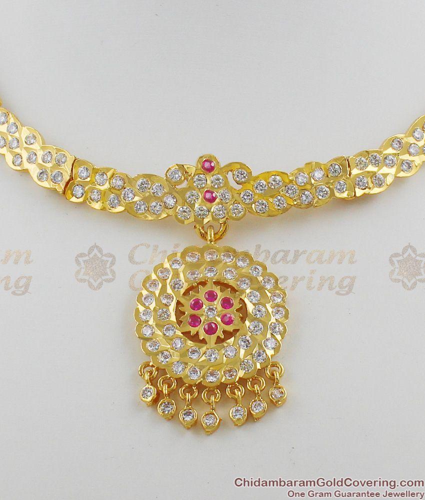 Choker Model Impon Attigai Multi Stone Necklace Gold Plated Jewellery NCKN1114