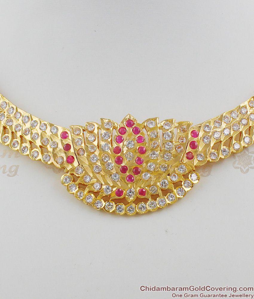 Grand Lotus Design Close Necklace Impon Choker Design Online Offer NCKN1115